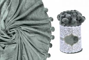 Плед с помпонами темно-серый
