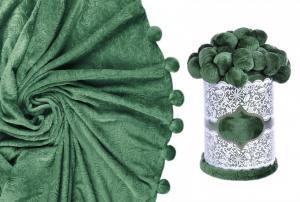 Плед с помпонами зеленый
