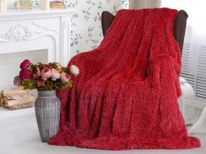Плед-травка с длинным ворсом Красный