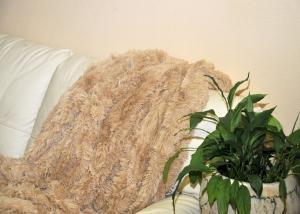 Плед-травка с длинным ворсом Песочный