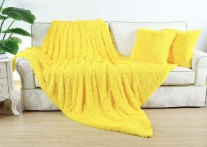 Плед-травка с длинным ворсом Желтый